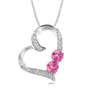 Stunning Silver & Pink Gem Heart Pendant Necklace